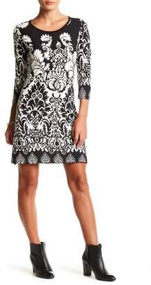 Papillon 3/4 Length Sleeve Damask Sweater Dress