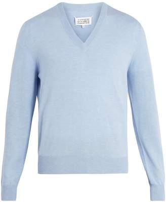 Maison Margiela V-neck cotton and wool-blend sweater