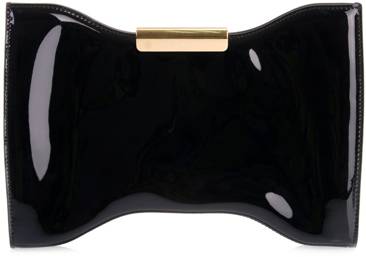 ALEXANDER MCQUEEN - Black patent leather clutch bag