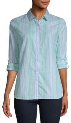 Robert Graham Azure Cotton Button-Down Shirt
