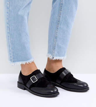 Asos Design VIBES Wide Fit Leather Flat Shoes