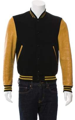 Tom Ford Leather & Wool Varsity Jacket
