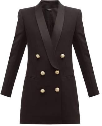 Balmain Double Breasted Crepe Blazer Dress - Womens - Black