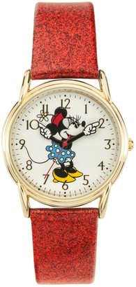 Disney Disney's Minnie Mouse Women's Glitter Leather Watch