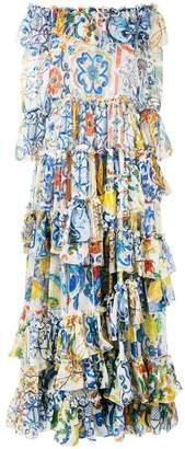 Dolce & Gabbana Majolica print chiffon gown