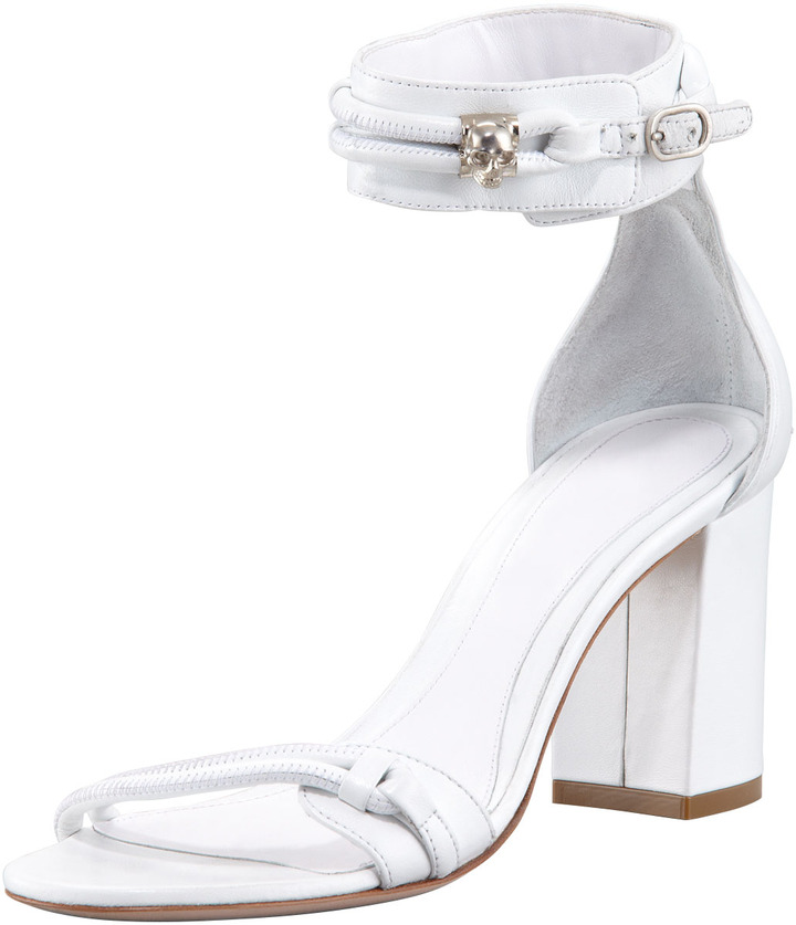 Alexander McQueen Napa Skull Ankle-Wrap Sandal, Cream