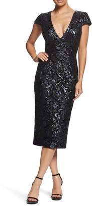Dress the Population Allison Sequin Brocade Plunging V-Neck Cocktail Sheath