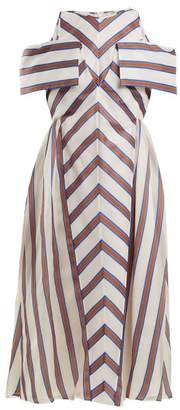 Fendi Striped off-the-shoulder silk-blend dress