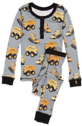 Boy's Munki Munki Construction Trucks Fitted Two-Piece Pajamas $38 thestylecure.com