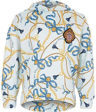 River Island Girls blue chain print hoodie