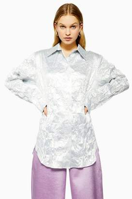 Topshop **Silver Crinkle Shirt by Boutique