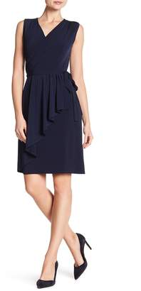 London Times Surplice Neck Solid Wrap Dress