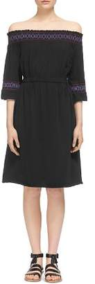 Whistles Embroidered Off-the-Shoulder Dress