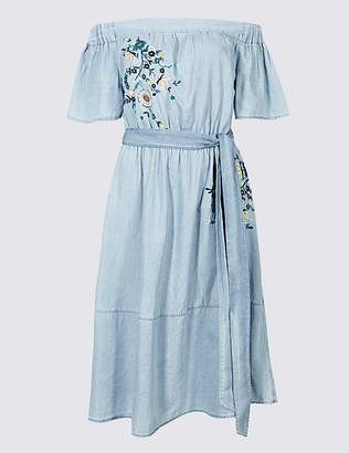 Marks and Spencer Cotton Rich Embroidered Bardot Midi Dress