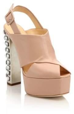 Giuseppe Zanotti Crystal-Trimmed Leather Platform Slingback Sandals
