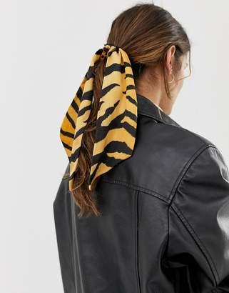 Asos Design DESIGN hair scarf in tiger print