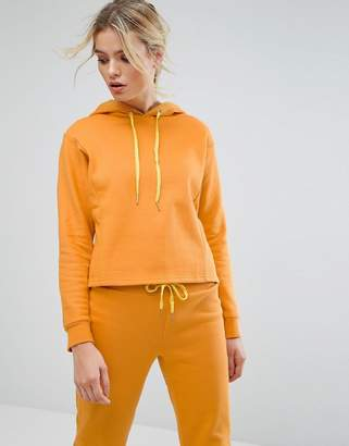 South Beach Crop Hoodie In Mustard