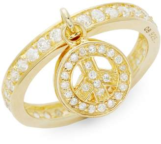 King Baby Studio Gold Vermeil & Cubic Zirconia Peace Charm Ring