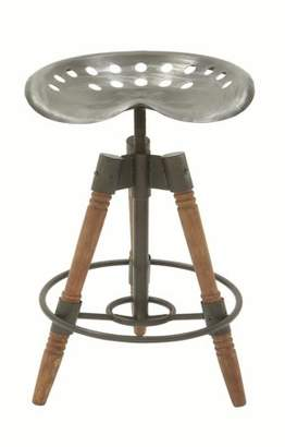 DecMode Decmode Industrial 27 X 18 Inch Metal and Wood Bar Stool