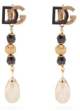 Dolce & Gabbana Crystal And Faux Pearl Drop Earrings - Womens - Black