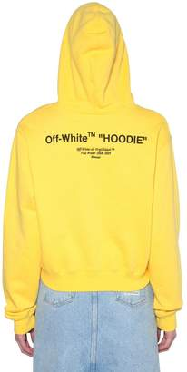 "Off-White ""Hoodie"" Print Cropped Cotton Sweatshirt"