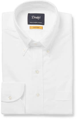 Drakes Drake's - White Button-Down Collar Cotton Oxford Shirt - White
