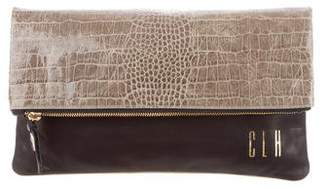 Clare Vivier Print Leather Fold-over Clutch