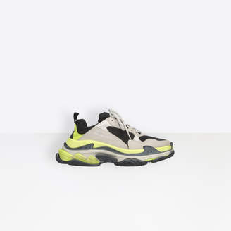 Balenciaga Triple S in grey, neon yellow and white leather, double foam and mesh