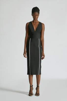 Yigal Azrouel V Neck Mechanical Stretch Dress