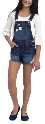 Jordache Girls' Frayed Hem Denim Overall Short