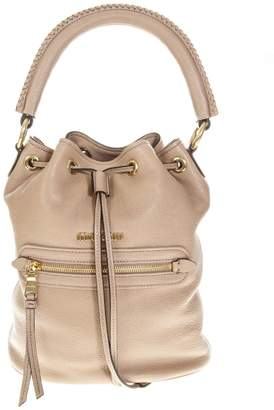 Miu Miu Cameo Leather Bucket Tote Bag b2e3d8d34a382