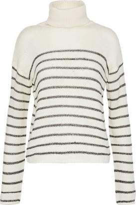 A.L.C. Elisa Metallic Striped Intersia-Knit Turtleneck Sweater