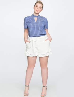 ELOQUII Layered Ruffle Hem Shorts