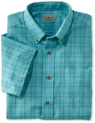 L.L. Bean L.L.Bean Wrinkle-Free Twill Sport Shirt, Traditional Fit Short-Sleeve Windowpane