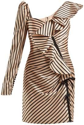 Self-Portrait Asymmetric striped satin mini dress