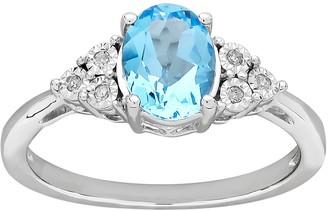 Diamore DIAMORESterling Silver Blue Topaz & Diamond Accent Ring
