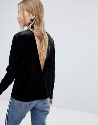 Pieces Velvet High Neck Top With Deep V Back