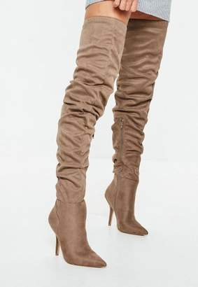 Missguided Brown Slouchy Over The Knee Boots