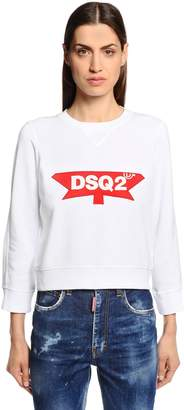 DSQUARED2 Logo Patch Cotton Jersey Sweatshirt