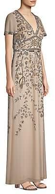 Aidan Mattox Women's Deep-V Beaded Gown