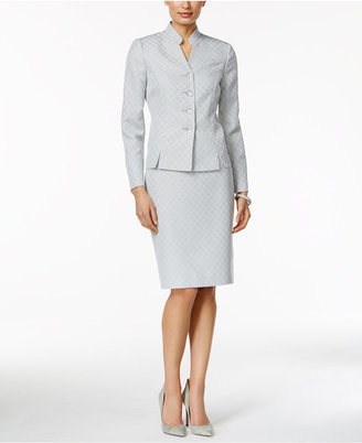 Le Suit Printed Stand Collar Skirt Suit $200 thestylecure.com