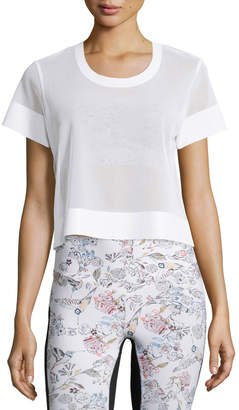 Lucas Hugh Perforated Mesh Cropped Sport Shirt, White