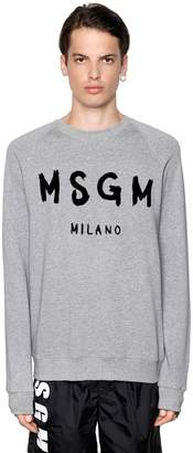 MSGM Vinyl Logo Printed Cotton Sweatshirt