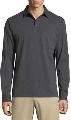 Peter Millar Men's Crown Fleece Cotton-Cashmere Long-Sleeve Polo Shirt