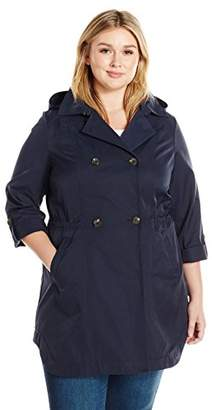 Lark & Ro Women's Plus Size Double Breasted Cinch Trench Coat