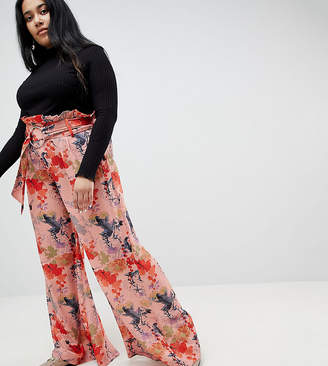 Asos Lost Ink Plus Wide Leg Pant In Blossom Print With Paper-bag Waist