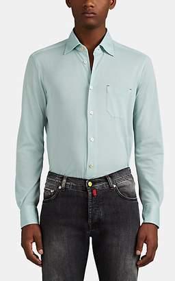 Kiton Men's Cotton Piqué-Knit Shirt - Turquoise