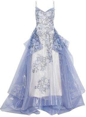 Zac Posen Layered Embroidered Organza Gown