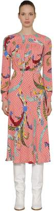Stella Jean Asian Print Viscose Crepe Midi Dress