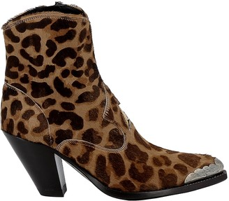 Golden Goose Leopard Pony Hair Ankle Boots